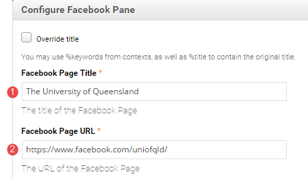 facebook title and URL field