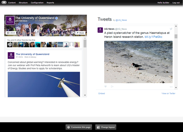 facebook and twitter components inserted in the mini panel