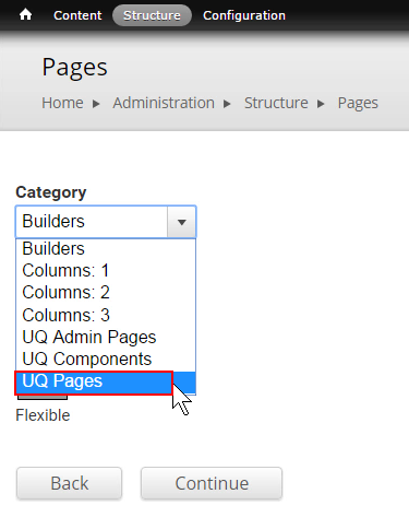 Select UQ Pages category