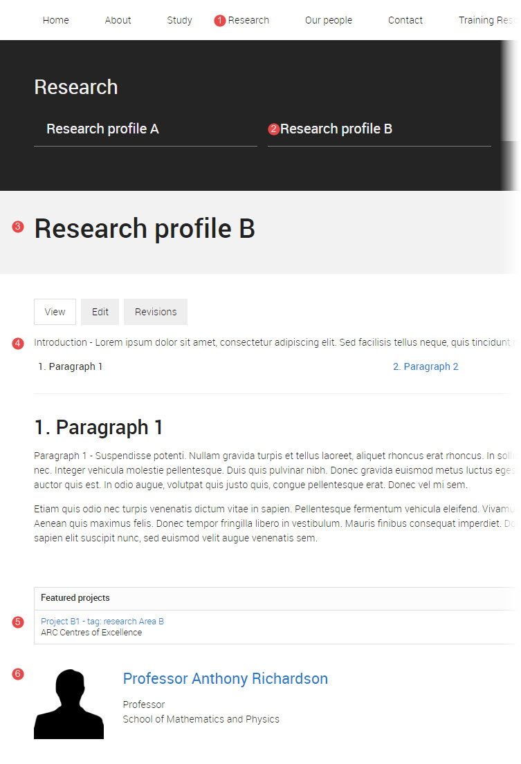 research profile page