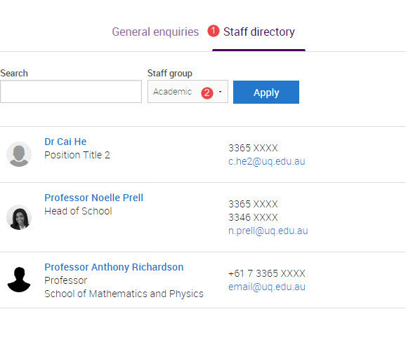 staff directory filtered by academic staff