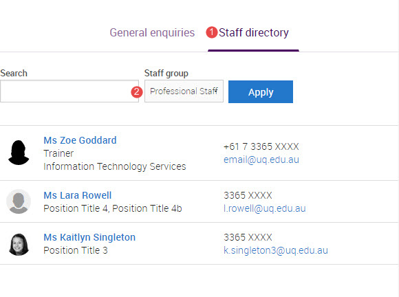 staff directory filtered by professional staff