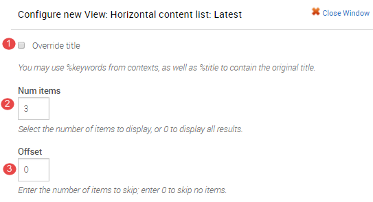 Configure horizontal content list view 1 to 3