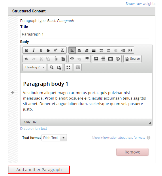 Structured content paragraph