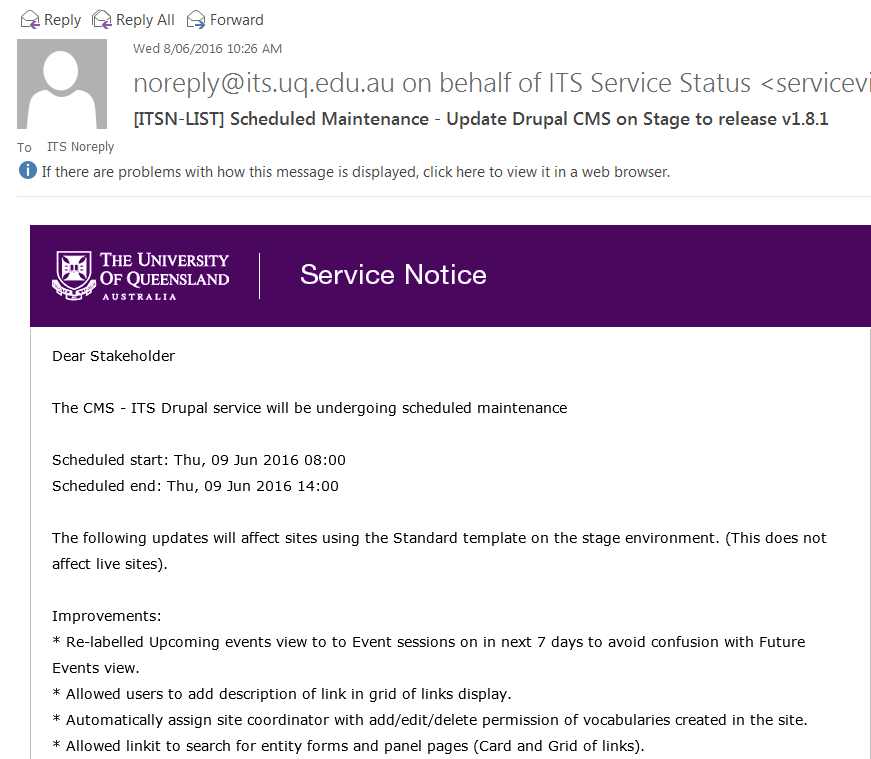 Example of a ServiceView notification email for UQ Drupal