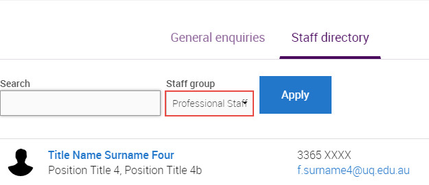 Staff group filter